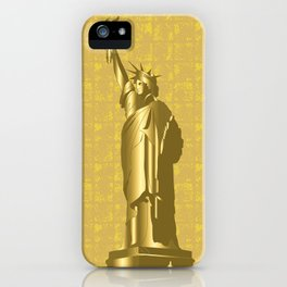 Gold Statue of Liberty on the Gold-leaf Screen iPhone Case