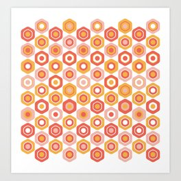 Buttons. Cute Geometric Pattern in Coral Pink and Ochre Mustard Art Print