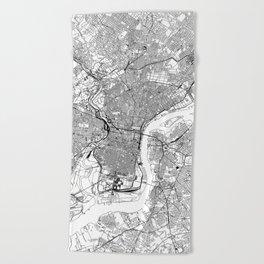 Philadelphia White Map Beach Towel