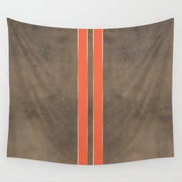 Vintage Hipster Retro Design - Brown Leather with Gold and Orange Stripes Wall Tapestry