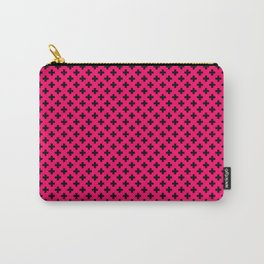 Small Black Crosses on Hot Neon Pink Carry-All Pouch