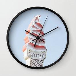 Ice cream eat neon Wall Clock