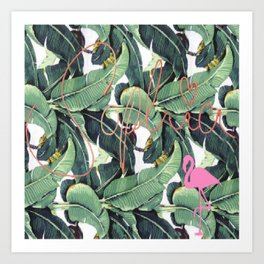 Sophia, Flamingo & Palms Art Print