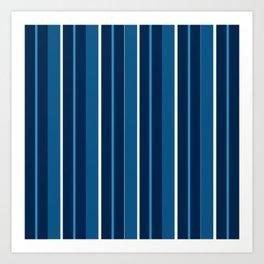 Repp Tie Pattern No. 8 (Blue Shades) Art Print