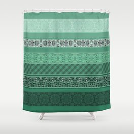 Turquoise striped patchwork Shower Curtain