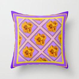 Purple-Lilac Diamond Pattern Floral Design Throw Pillow