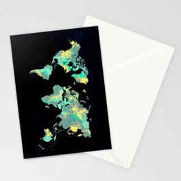 world map 87 green blue Stationery Cards