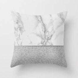 Marble + Glitter #1 Throw Pillow