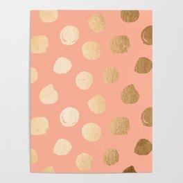 Sweet Life Polka Dots Peach Coral + Orange Sherbet Shimmer Poster