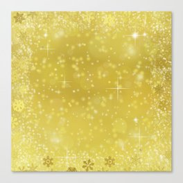 Gold Christmas Sparkling Winter Snowflakes Canvas Print