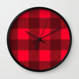 DigiPlaid Red Wall Clock