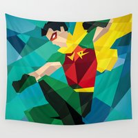 dc comics Wall Tapestries featuring DC Comics Robin by Eric Dufresne