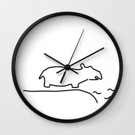 hippopotamus zoo Wall Clock