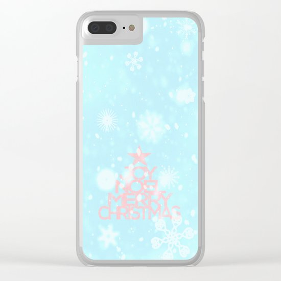 Joy,Noel,Merry Christmas and Star pattern - pink on aqua Clear iPhone Case