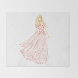 The Pink Dress Throw Blanket
