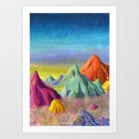 mountains Art Prints featuring mountains  by Robert Deutsch