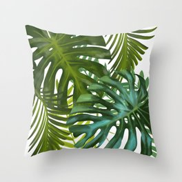 Palm and Monstra Throw Pillow