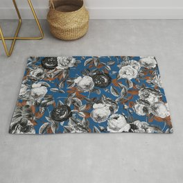 Black white roses copper classic blue Rug