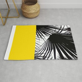 Black and White Tropical Palm Leaves on Sunny Yellow Rug