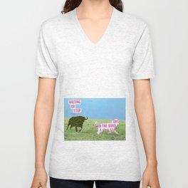 The vegan bull Unisex V-Neck