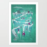 penguins Art Prints featuring Penguins by Spires