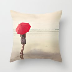 The Red Umbrella Throw Pillow