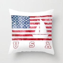USA Sailing - Flag of America Throw Pillow
