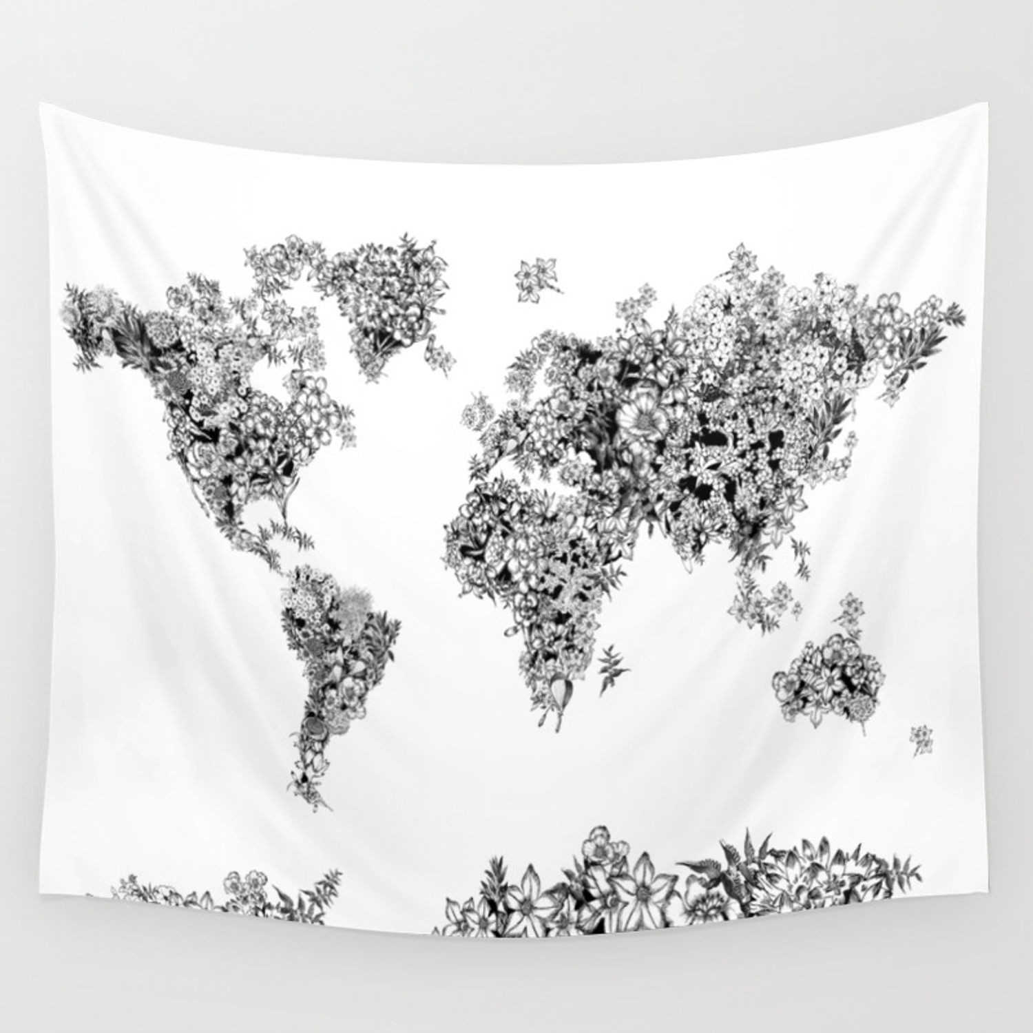 floral world map black and white Wall Tapestry