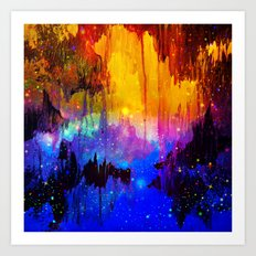 CASTLES IN THE MIST Magical Abstract Acrylic Painting Mixed Media Fantasy Cosmic Colorful Galaxy  Art Print