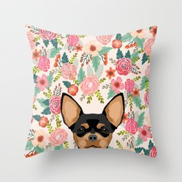 Chihuahua dog floral pet pure breed gifts for chihuahua black and tan Throw Pillow