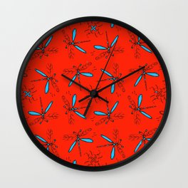 Turquoise Dragonflys On Red-Orange Back Wall Clock