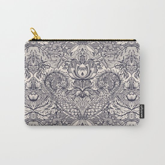 Natural Rhythm 2 - a hand drawn pattern in charcoal & cream Carry-All Pouch