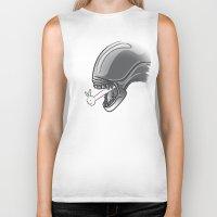 alien Biker Tanks featuring Alien?! by Matisse Lin
