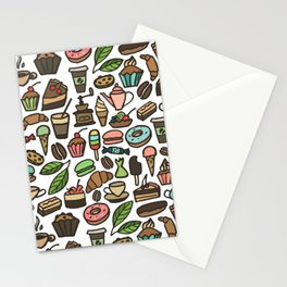Coffee and pastry. Stationery Cards
