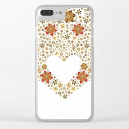 Floral heart with star anise Clear iPhone Case
