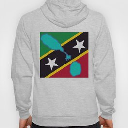St. Kitts and Nevis Flag with Island Maps Hoody