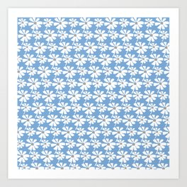 Daisies In The Summer Breeze - Blue Grey White Art Print