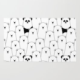 Polar bear and panda cartoon Rug