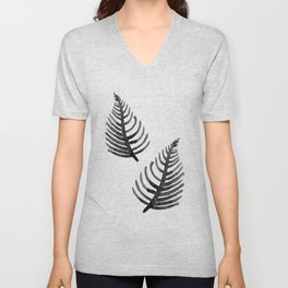 Black Watercolor Leaf Unisex V-Neck