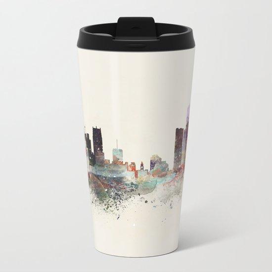 detroit michigan skyline Metal Travel Mug