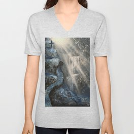 Spray Paint Waterfall Road to the Cross Unisex V-Neck
