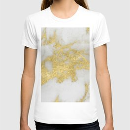 Marble - Yellow Gold Marble Foil on White Pattern T-shirt