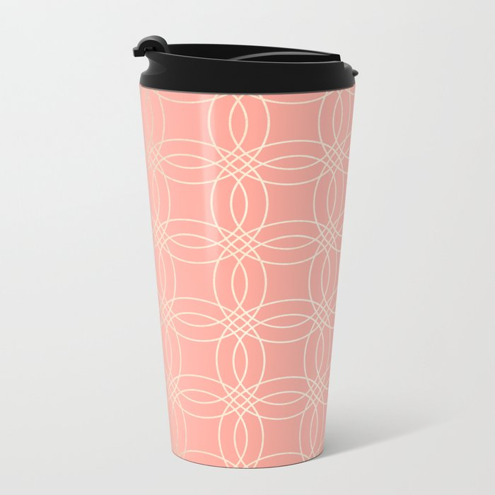 Simply Vintage Link in White Gold Sands and Salmon Pink Metal Travel Mug