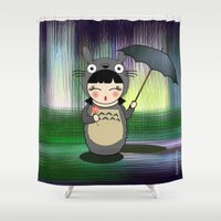 anime Shower Curtains featuring Kokeshi anime Toto ro by Pendientera