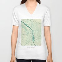 portland V-neck T-shirts featuring Portland Map Blue Vintage by City Art Posters