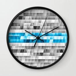 Blue Stripe Geometric Pattern Wall Clock