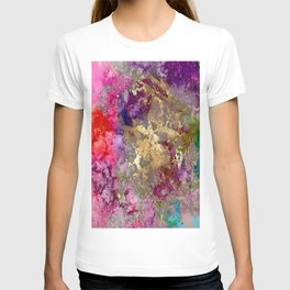 Galaxy, abstract, fire+ice gold accent T-shirt