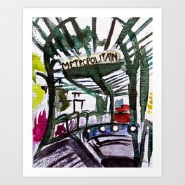 Paris Metro Sketch Chatelet Art Print
