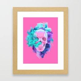 Colored Smoking Skull Framed Art Print