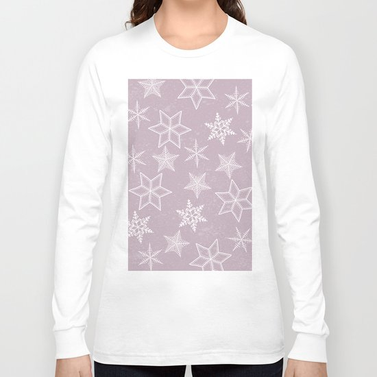 Snowflakes on pink background Long Sleeve T-shirt
